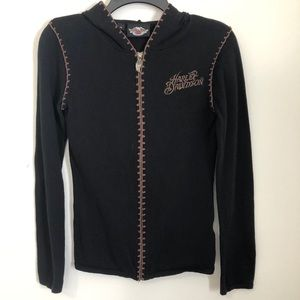 Vintage Black and Brown Harley Davidson Zip Up